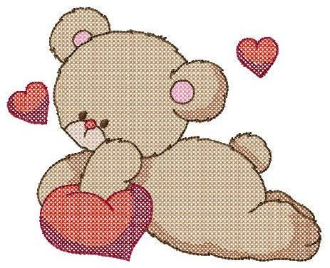 Cross Stitch Teddy In Love