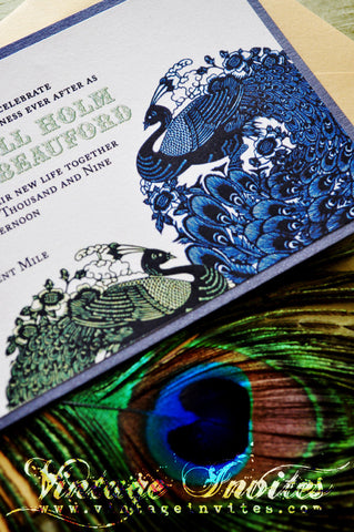 The Alexandra Vintage Peacock Wedding Invitation