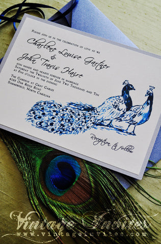The Charlene Modern Peacock Wedding Invitation