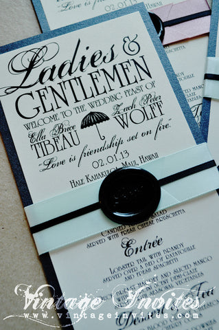 The Ella Art Deco Wedding Menus