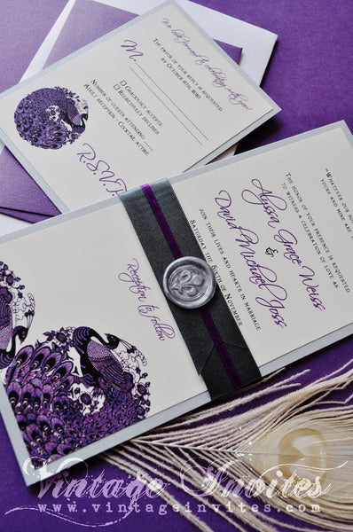 The Alyssa Vintage Peacock Wedding Invitation