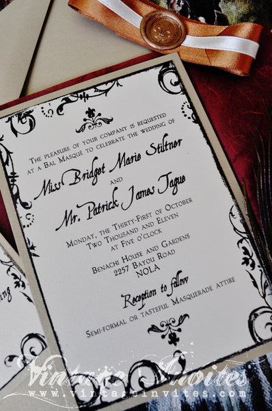 The Marie New Orleans Vintage Filigree Wedding Invitation