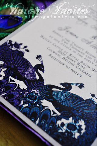 The Kirsten Vintage Peacock Wedding Invitation