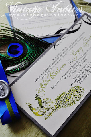 The Michele Vintage Peacock Wedding Invitation