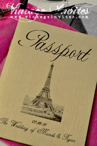 The Othilde Paris Vintage Passport Wedding Invitation