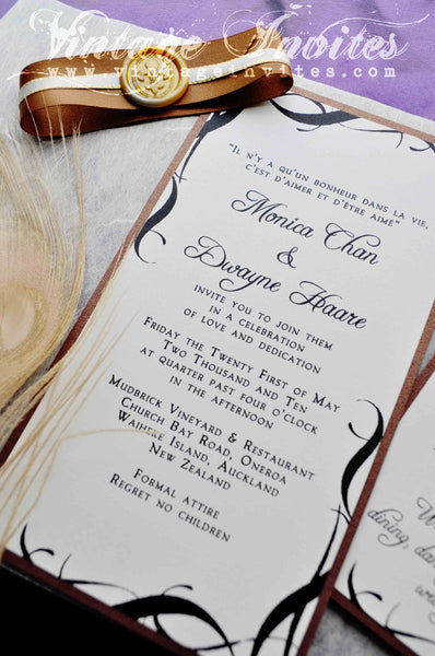 The Monica French Vintage Wedding Invitation