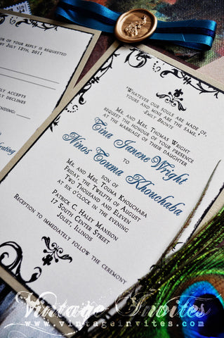 The Tina Paris Vintage Peacock Wedding Invitation