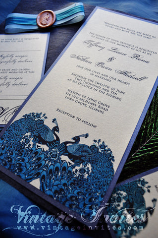 The Tiffany Vintage Peacock Wedding Invitation