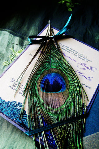 The Deanna Vintage Peacock Wedding Invitation