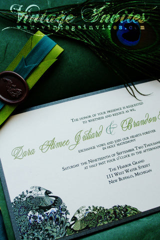 The Zara Vintage Peacock Wedding Invitation