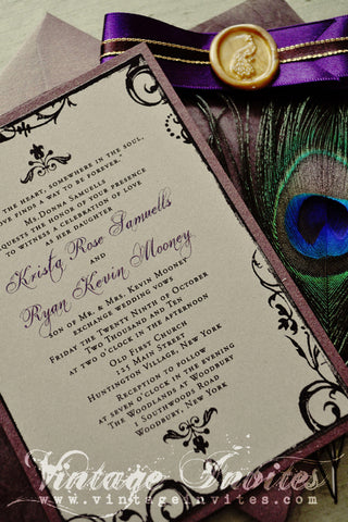 The Krista Paris Vintage Peacock Wedding Invitation