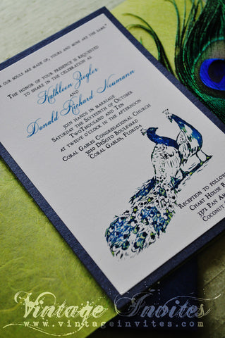 The Kathleen Vintage Peacock Wedding Invitation