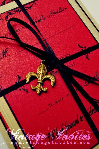 The Celine- The Moulin Rouge Edition- French Vintage Wedding Invitation
