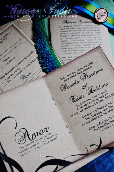 The Zaldana Antigua Vintage Colonial Passport Wedding Invitation