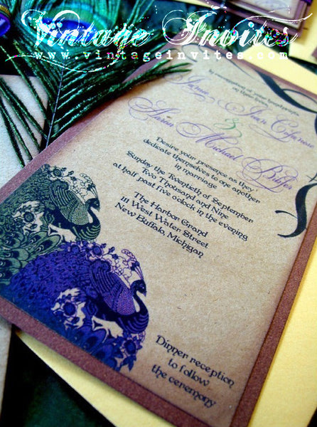The Jamie Vintage Peacock Wedding Invitation