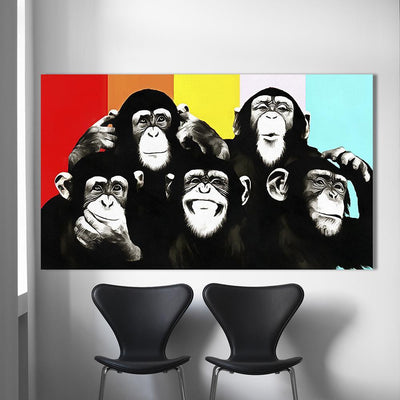 Funny Chimps Canvas Prints Muurvulling.nl