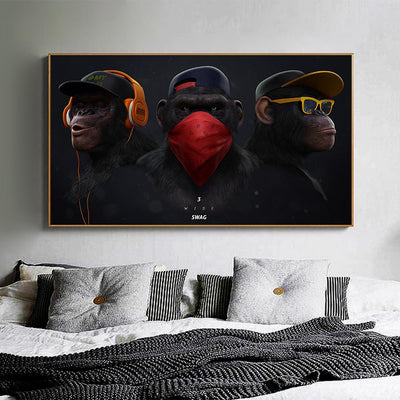 Chimpanswag - The 3 Canvas Prints Muurvulling.nl