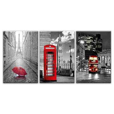 From Paris to London Canvas Prints Muurvulling.nl 35x50cmx3pcs Geen Frame