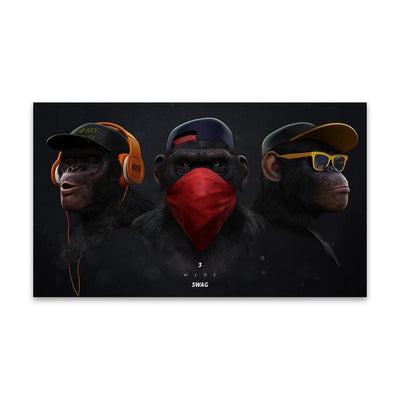 Chimpanswag - The 3 Canvas Prints Muurvulling.nl 20x35cm