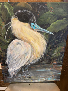 Capped Heron  Original Painting by Artist Vaughn Spanjer