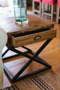 Reclaimed Pine Iron End Table