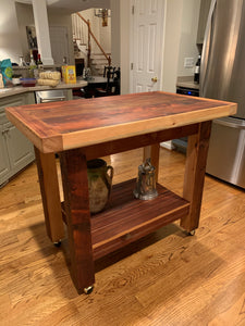 Reclaimed Pine Kitchen Workstation