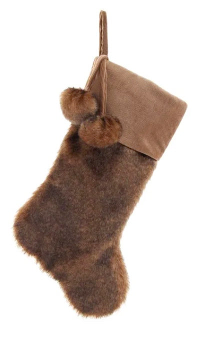 Tan and Brown Fur With Pom Poms Stocking