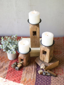 Set of 2 Wooden Furniture Leg Candle Holders