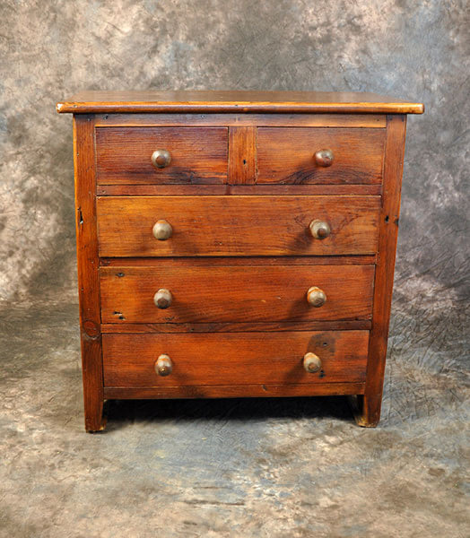 Reclaimed Pine Small 5 Drawer Dresser