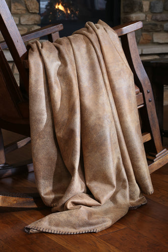 Tobacco Faux Leather Throw