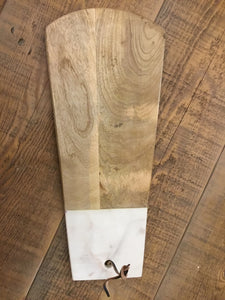 White Marble & Acacia Wood Cutting Board