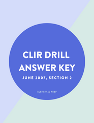 CLIR Drill Answer Key, June 2007 Section 2