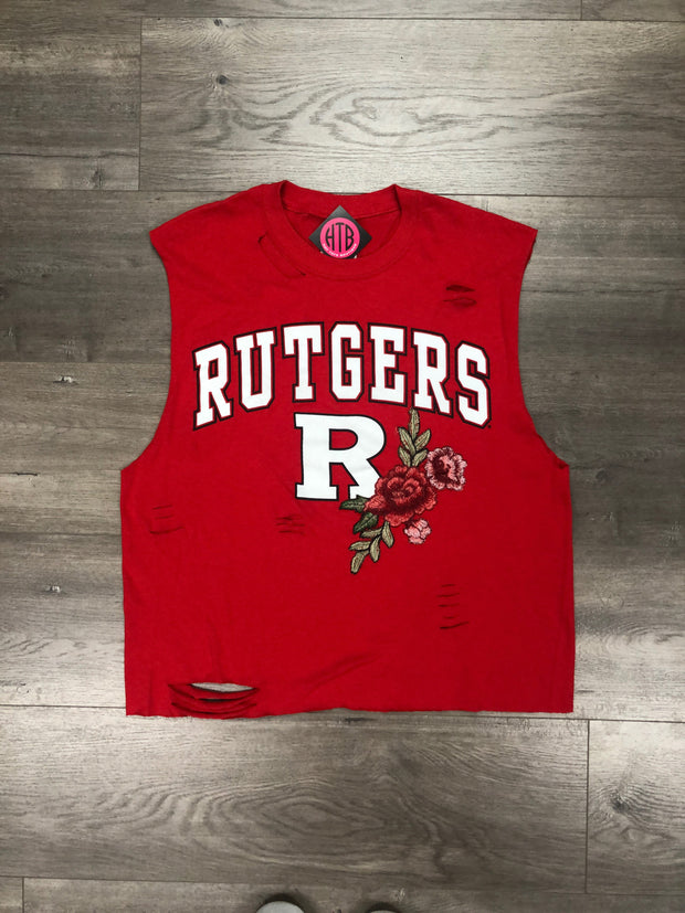 College Rose Embroidered Destroyed Muscle