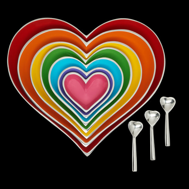 Rainbow Heart Dishes - Set of 7