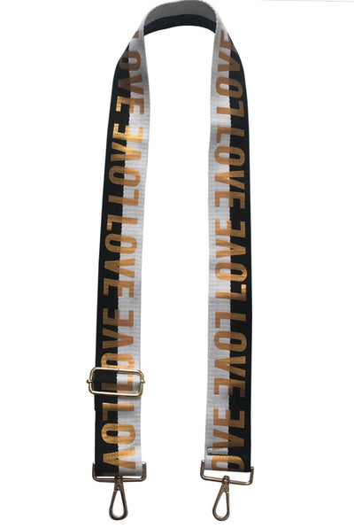 Black/White LOVE Guitar Strap
