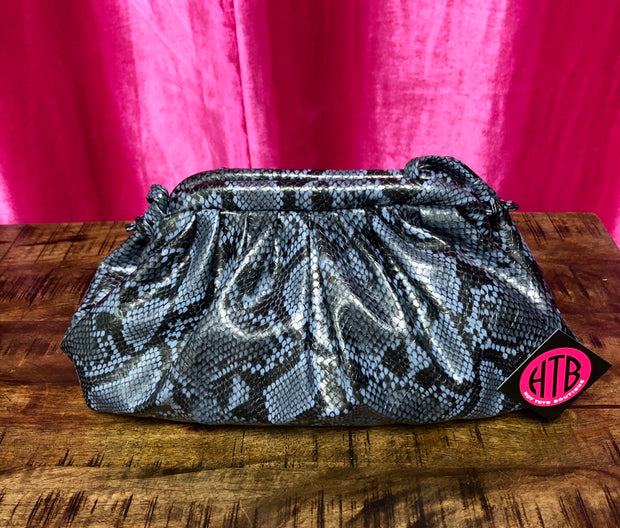 Blue Python Pouch Bag (Large)