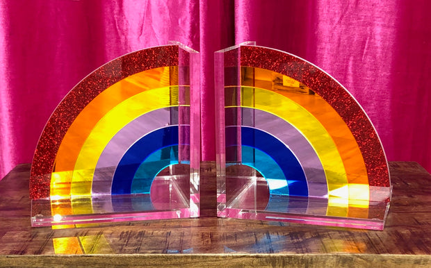 Rainbow Acrylic Bookends