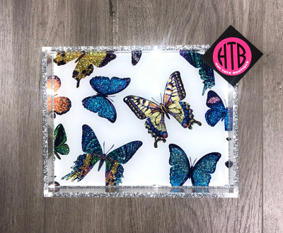 Small Multi Butterfly Tray White