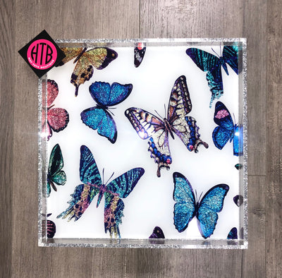 12 x 12 White Multi Butterfly Tray