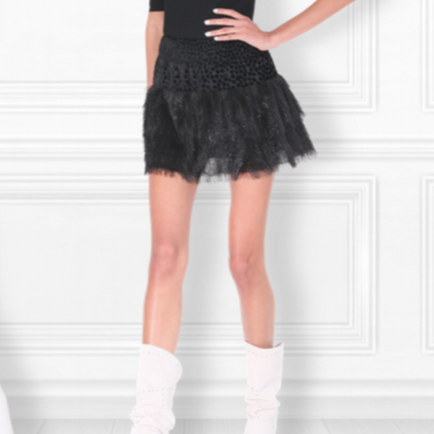 Feathered MM Tiered Skirt