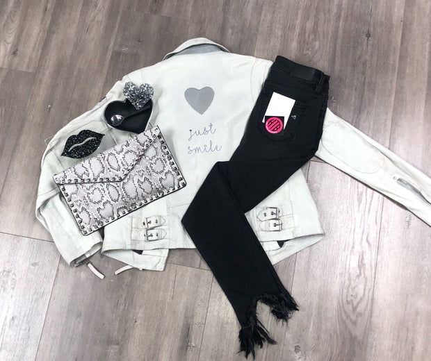 Distressed Heart Leather Jacket