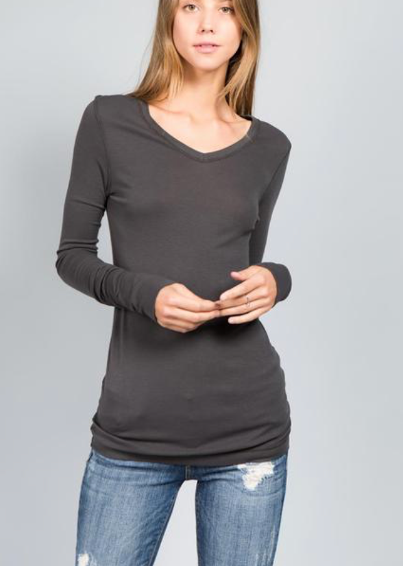 Long Sleeve Basic V-neck