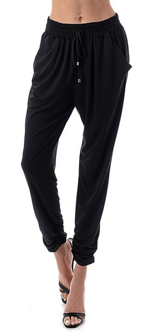 Black Ruched Bottom Joggers