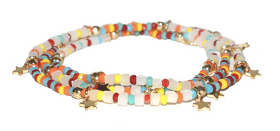 White Multi Colored Beaded Stretch Bracelets