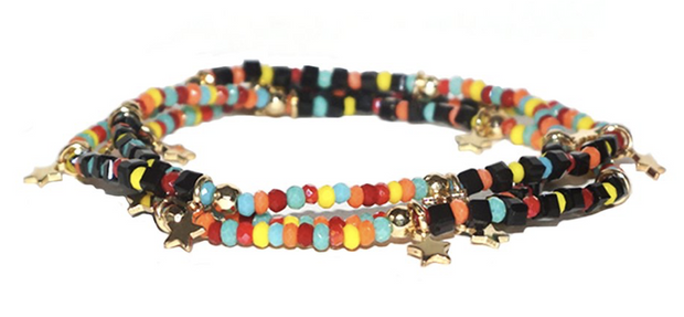 Black Multi Colored Beaded Stretch Bracelets