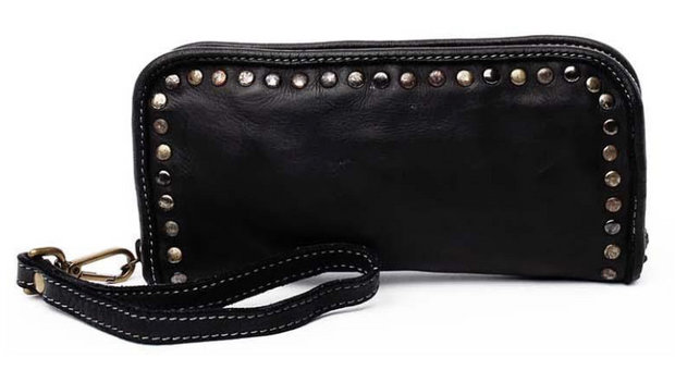 Leather Studded Zip Around Wallet