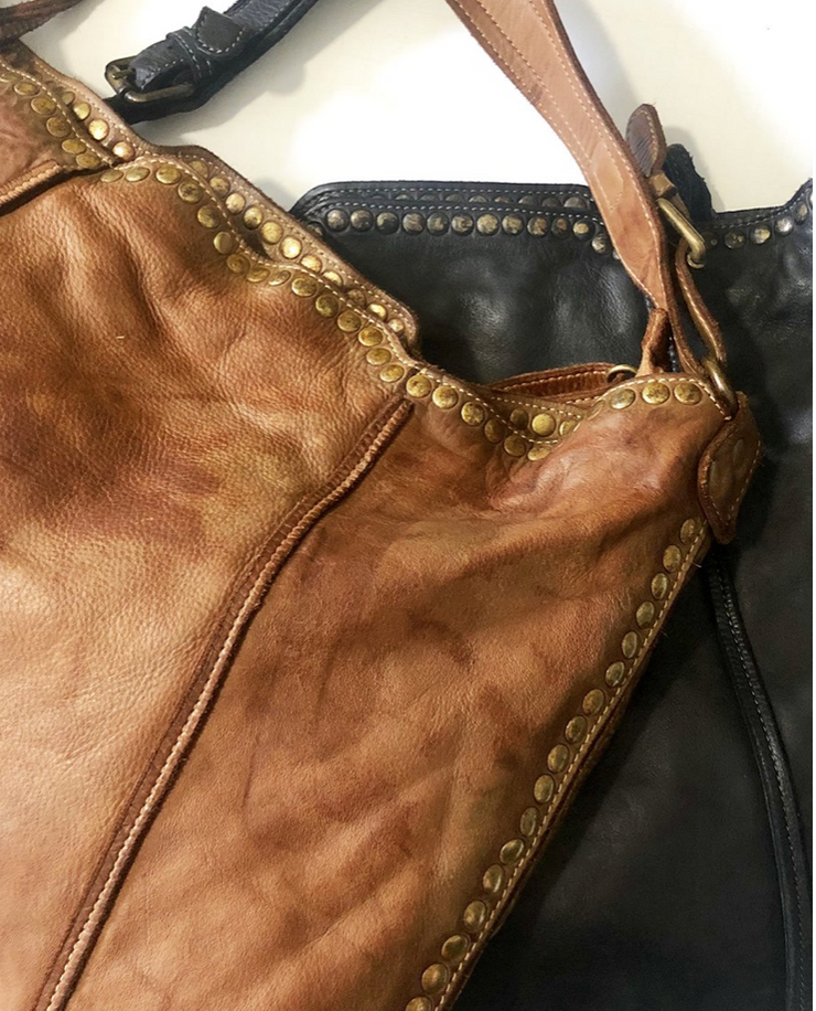 Leather Studded Hobo