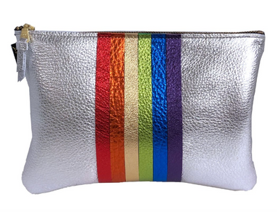 Carter Leather Rainbow Stripe Pouch