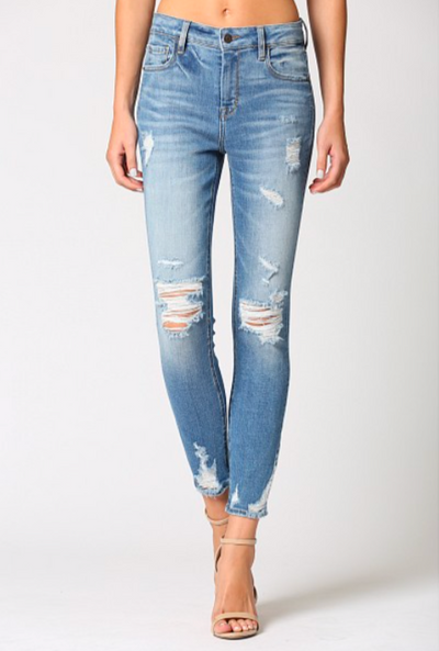 High Rise Distressed Skinny CLEAN Hem