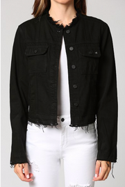 Collarless Black Denim Jacket